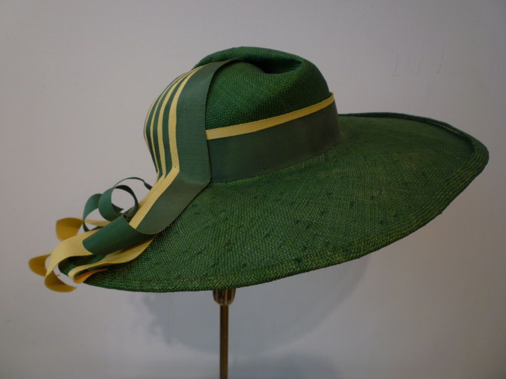 1940s Green Straw Hat with Extravagant Ribbon Trim 2