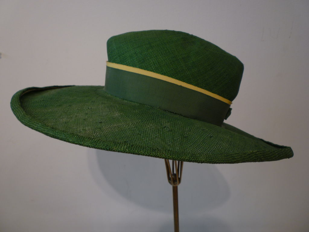 1940s Green Straw Hat with Extravagant Ribbon Trim 3
