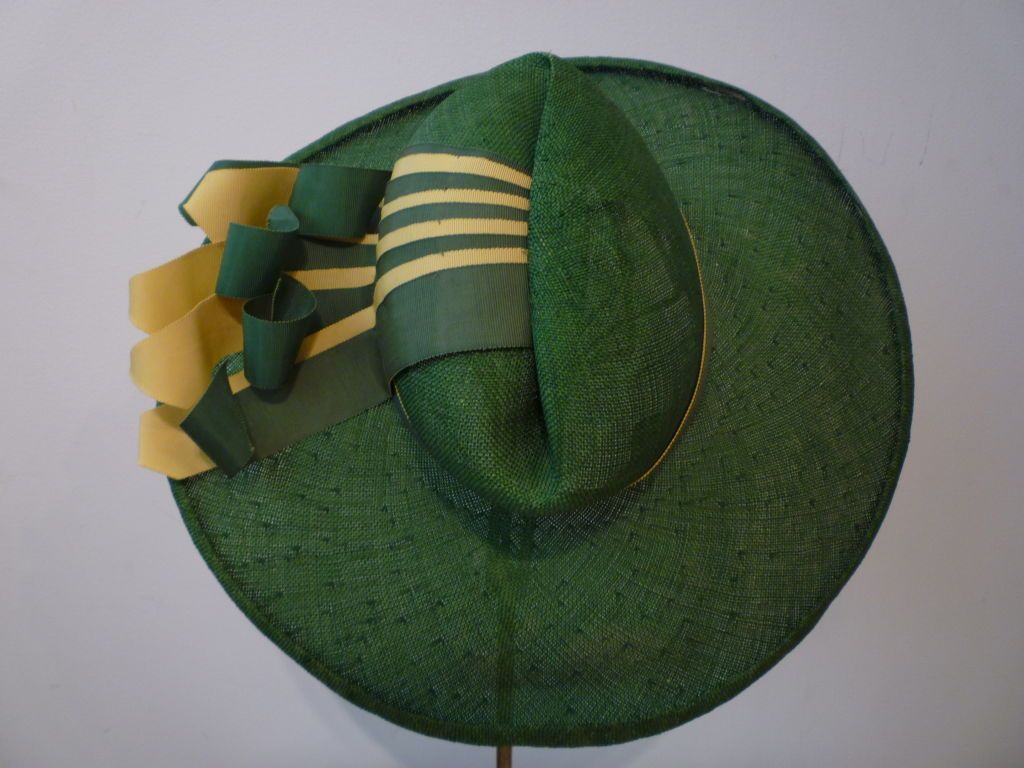 1940s Green Straw Hat with Extravagant Ribbon Trim 4