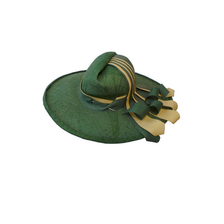 1940s Green Straw Hat with Extravagant Ribbon Trim 1