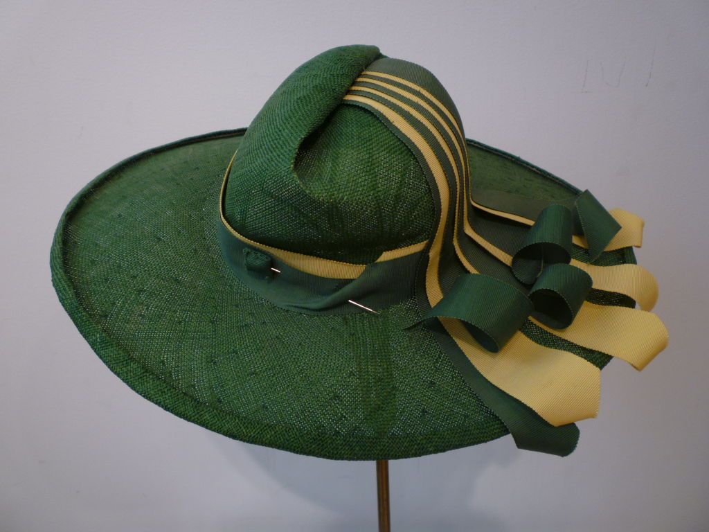 1940s Green Straw Hat with Extravagant Ribbon Trim 6