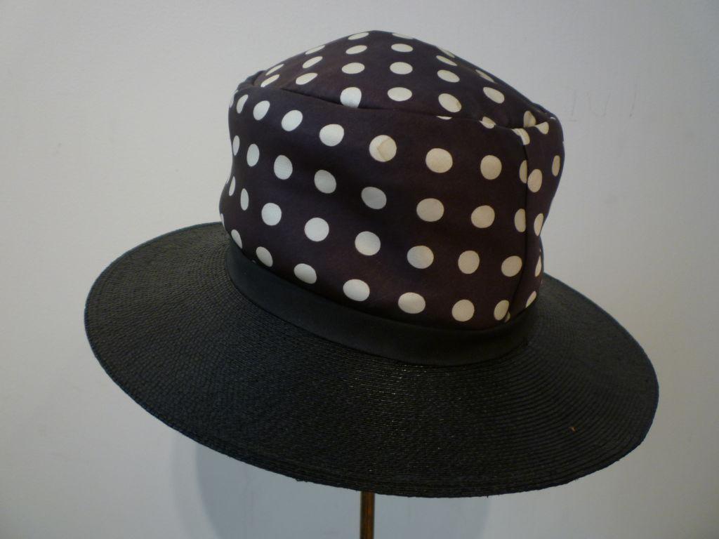 Black Joseph Magnin 1960s Hat in Straw and Silk Polka Dot For Sale