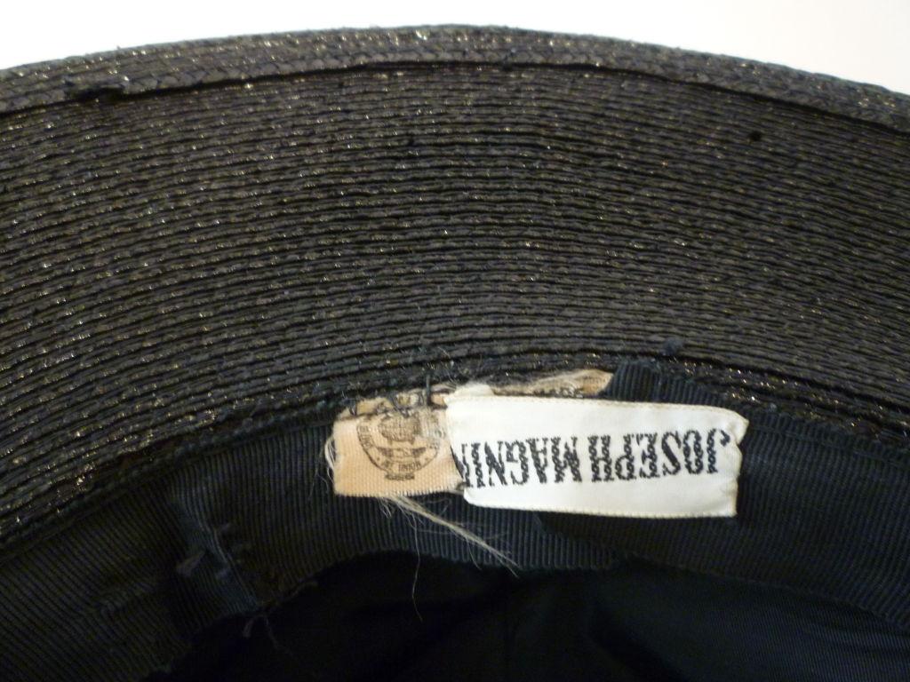 Women's Joseph Magnin 1960s Hat in Straw and Silk Polka Dot For Sale