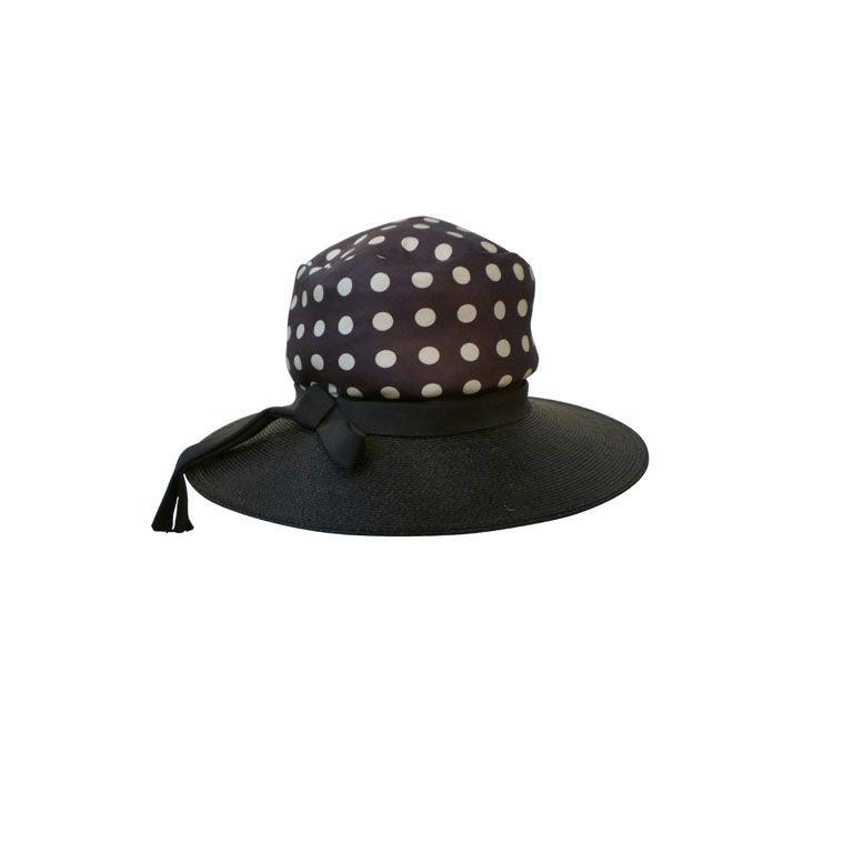 Joseph Magnin 1960s Hat in Straw and Silk Polka Dot For Sale