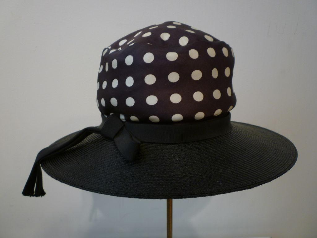 Joseph Magnin 1960s Hat in Straw and Silk Polka Dot For Sale 1