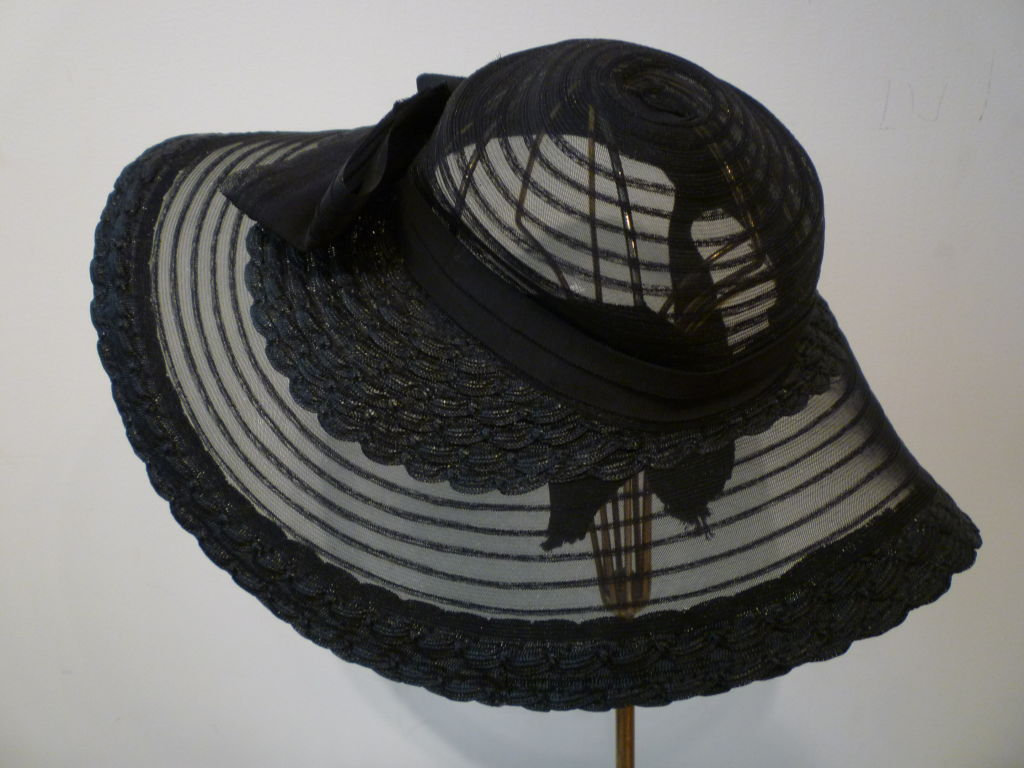 40s Black Straw and Sheer Horsehair braid Sun Hat For Sale 2