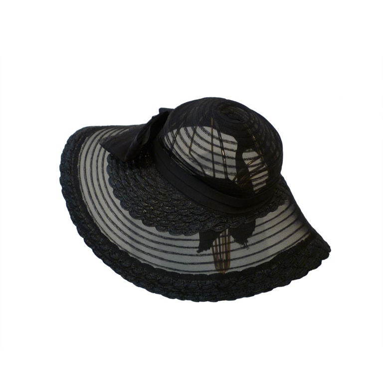 40s Black Straw and Sheer Horsehair braid Sun Hat For Sale