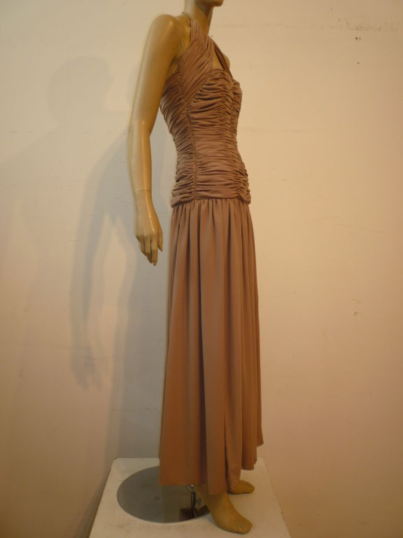 Victor Costa 80s Ruched Taupe Halter Gown 2