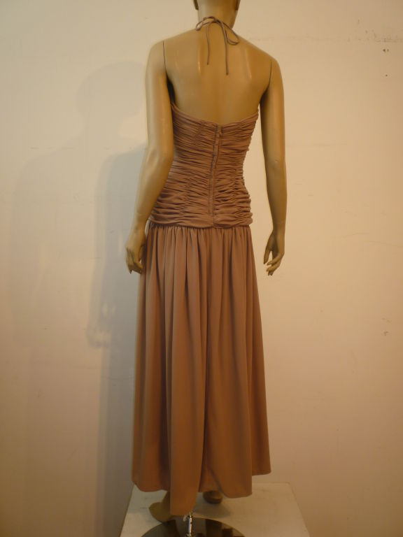 Victor Costa 80s Ruched Taupe Halter Gown 3