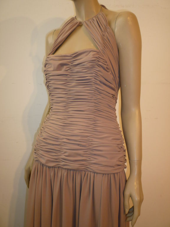Victor Costa 80s Ruched Taupe Halter Gown 4