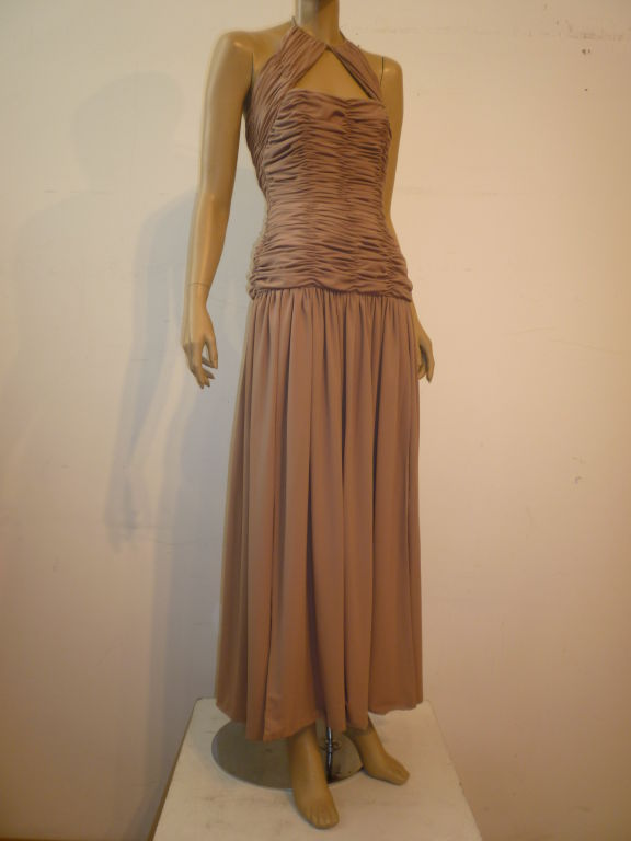 Victor Costa 80s Ruched Taupe Halter Gown 6