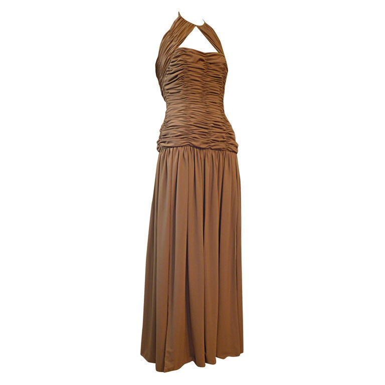 Victor Costa 80s Ruched Taupe Halter Gown 1