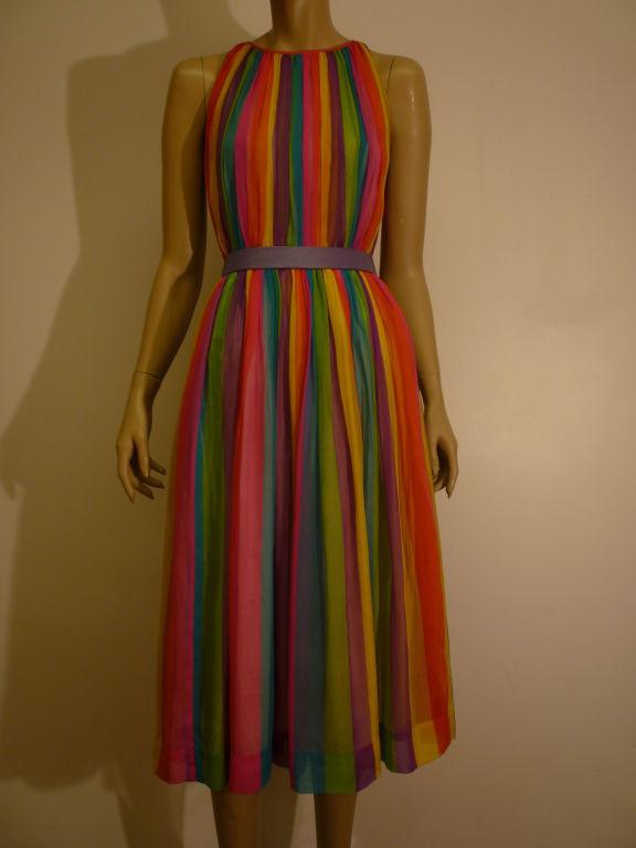 50s Silk Rainbow Striped Chiffon Dress 5