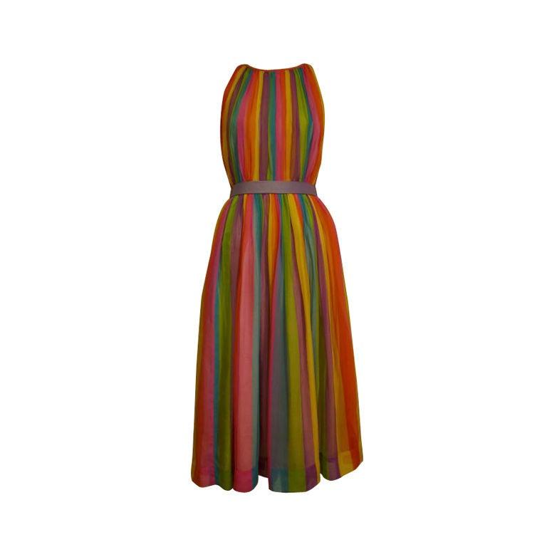 50s Silk Rainbow Striped Chiffon Dress 1