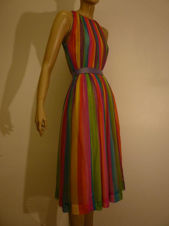 50s Silk Rainbow Striped Chiffon Dress 2