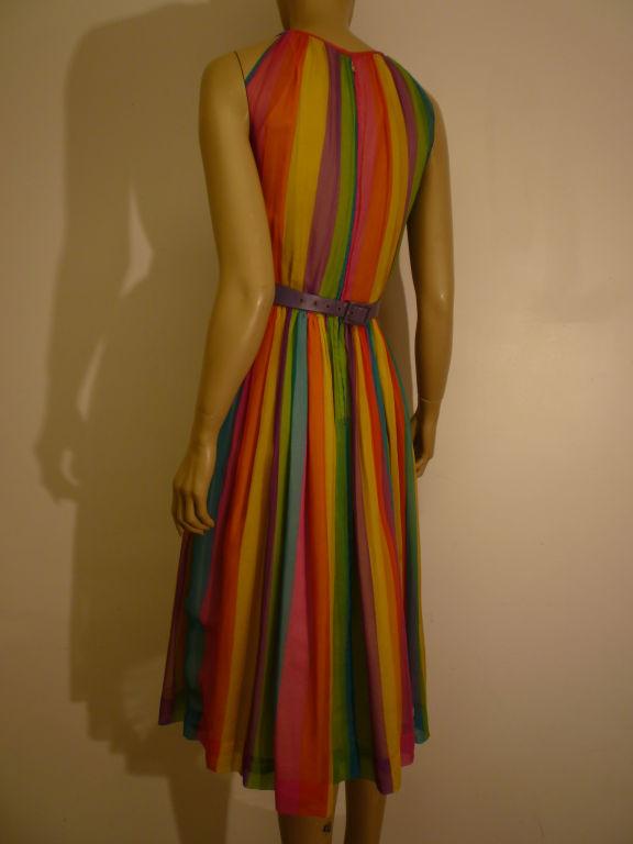 50s Silk Rainbow Striped Chiffon Dress 4