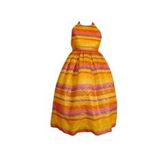 Carolyne Roehm 80s Lamé Pastel Babydoll Dress
