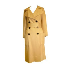 1960s Norman Norell Silk Linen Gazar Belted Trench