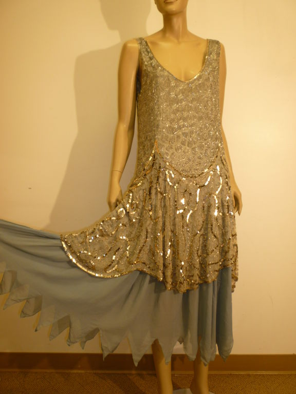 1920's Beaded Sequined Lace, Tulle and Chiffon Tea Dress 2