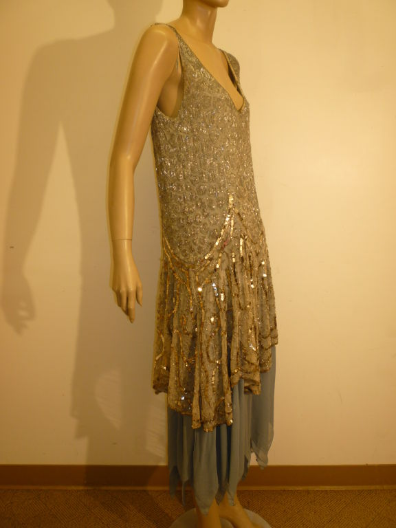 1920's Beaded Sequined Lace, Tulle and Chiffon Tea Dress 3
