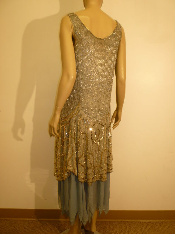 1920's Beaded Sequined Lace, Tulle and Chiffon Tea Dress 4