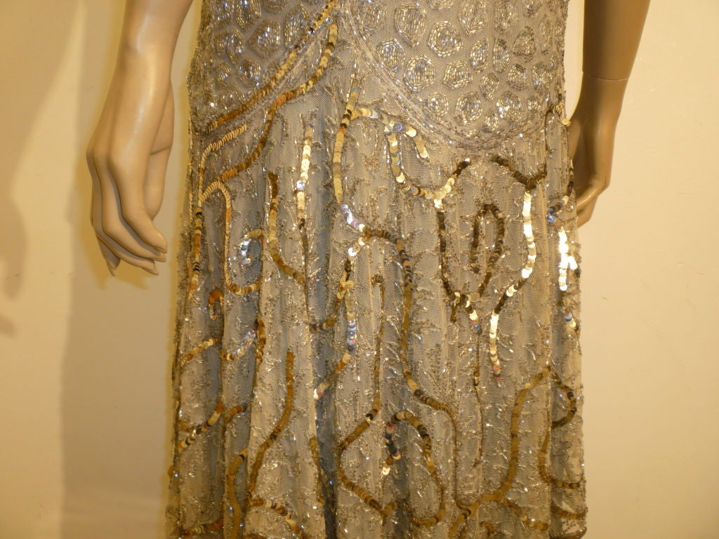 1920's Beaded Sequined Lace, Tulle and Chiffon Tea Dress 5