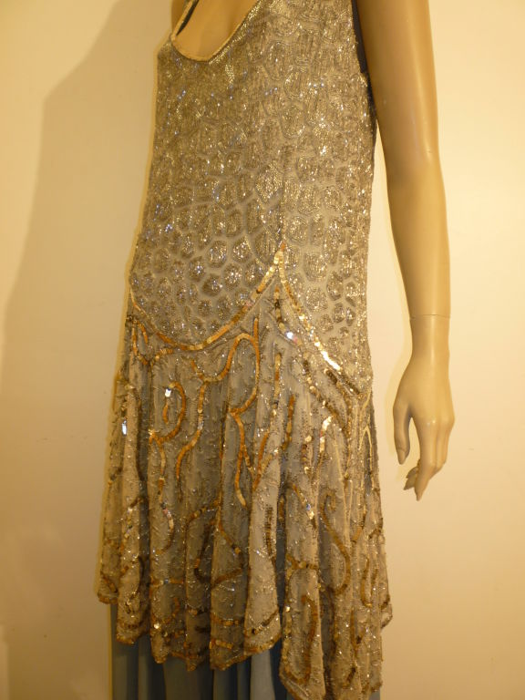 1920's Beaded Sequined Lace, Tulle and Chiffon Tea Dress 6