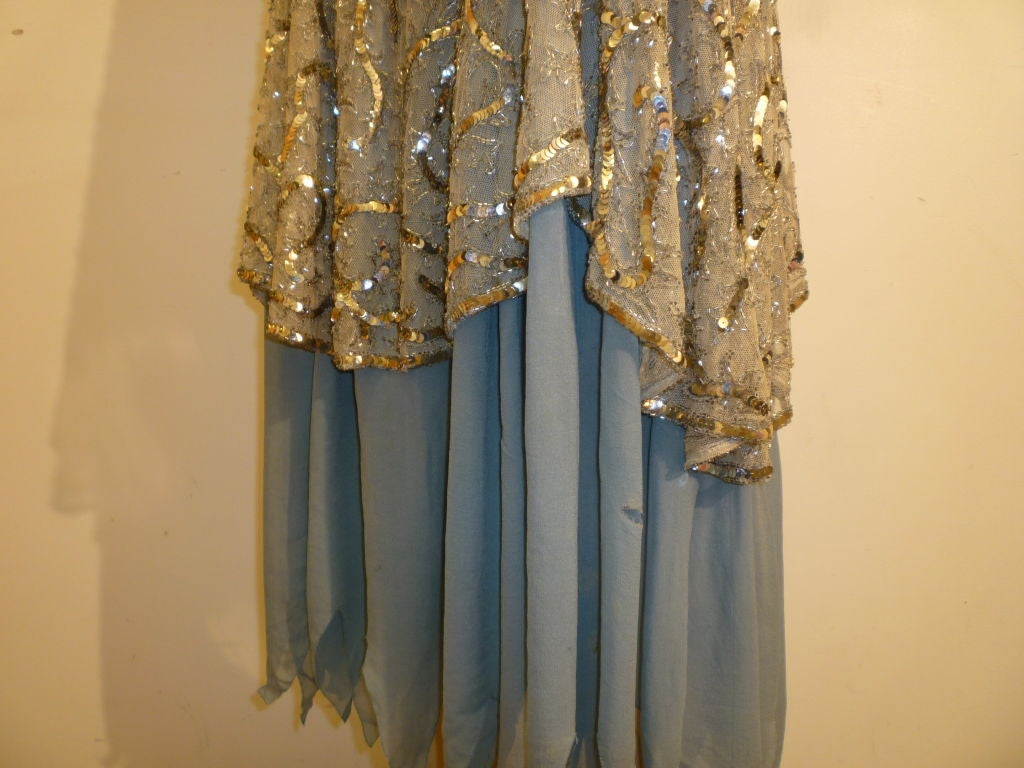 1920's Beaded Sequined Lace, Tulle and Chiffon Tea Dress 7