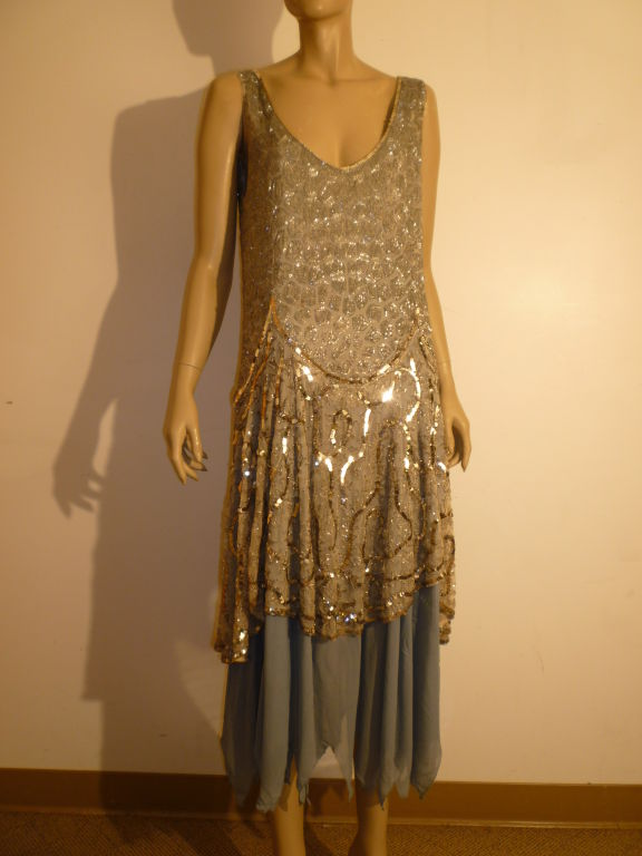 1920's Beaded Sequined Lace, Tulle and Chiffon Tea Dress 9