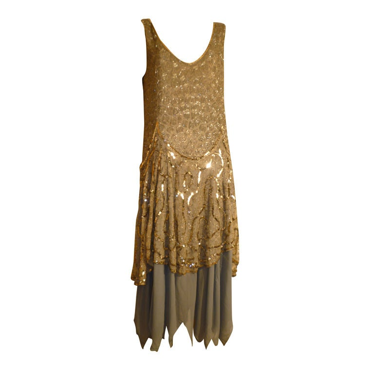 1920's Beaded Sequined Lace, Tulle and Chiffon Tea Dress 1