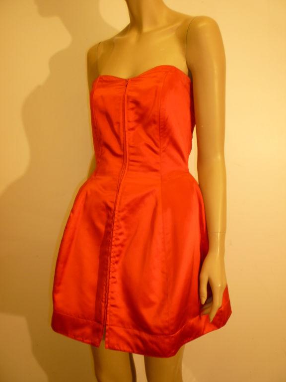 Claude Montana 80s Red Silk Satin Bustier Mini Dress For Sale 1