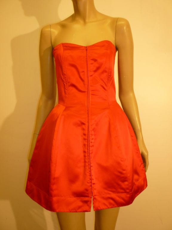 Claude Montana 80s Red Silk Satin Bustier Mini Dress For Sale 3