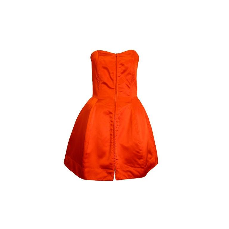 Claude Montana 80s Red Silk Satin Bustier Mini Dress For Sale