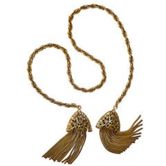 40s Gold Filigree Lariat with Chain Tassels