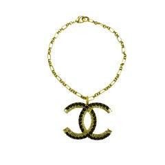 "Chanel ""Double C"" Chain Link Choker Necklace w/ Rhinestones"