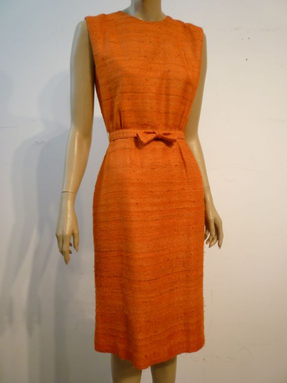 60s Saks Fifth Avenue Raw Silk Summer Dress in Apricot Shades 4
