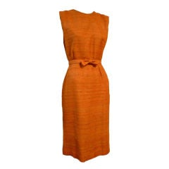 60s Saks Fifth Avenue Raw Silk Summer Dress in Apricot Shades