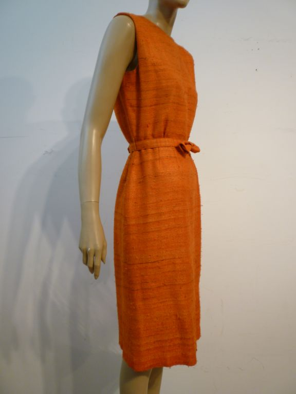 60s Saks Fifth Avenue Raw Silk Summer Dress in Apricot Shades 2
