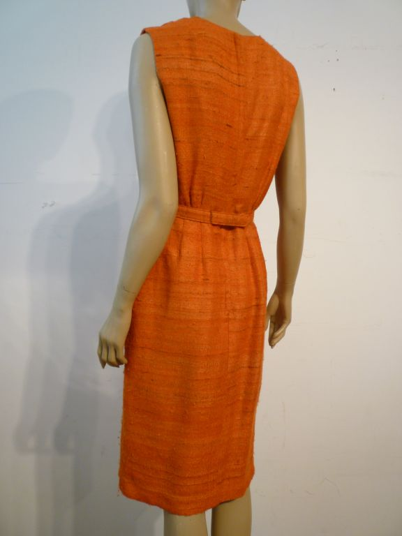 60s Saks Fifth Avenue Raw Silk Summer Dress in Apricot Shades 3