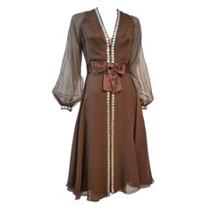 Luis Estévez 60s Brown Chiffon Cocktail Dress w/ Rhinestone Trim