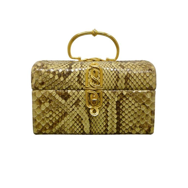 Judith Leiber 60s Snakeskin Evening  Box Bag