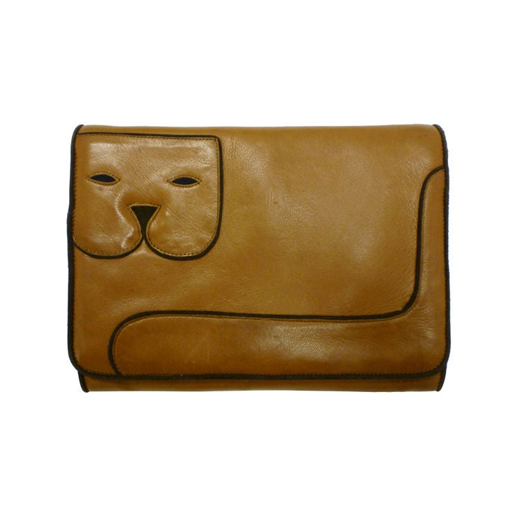 "Maud Frizon 80s Leather ""Kitty"" Shoulder Bag 1"
