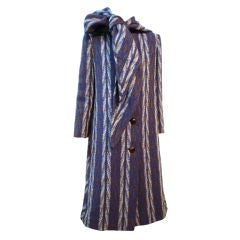 Pauline Trigere Indian Blanket Coat w/ Attached Scarf