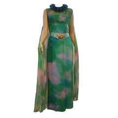 60s Hand-Painted Silk Chiffon Gown w/ Overlay
