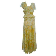 30s Couture E. L. Mayer Floral Chiffon 2-Piece Gown and Jacket