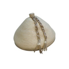 60s Marché Asian-Inspired Straw Hat in Beige and Taupe