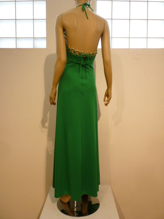 A fun, swinging Jack Hartley Inc. kelly green 60s jersey halter maxi-dress with mod ring detail around the neckline and back.  Size 5/6. In great condition, with some rings changing color.