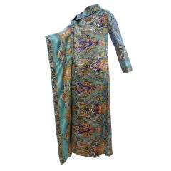 60s Psychedelic Asymmetrical Caftan with Shoulder Closure