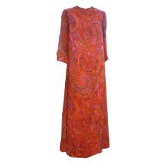 Tina Leser 60s  Hand-Painted Silk Chiffon Tunic Dress