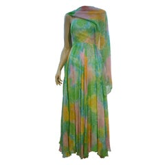 Nat Kaplan Hand-Painted Silk Chiffon 60s Dress w/ Foulard
